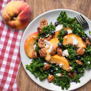 Summer Peach Kale Pecan Salad
